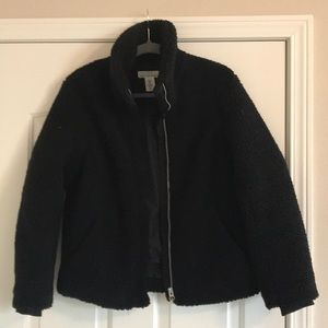 Funnel neck Sherling coat
